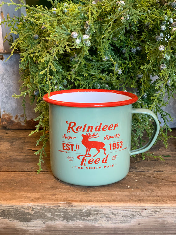 Mint & Red Enamel Reindeer Feed Mug