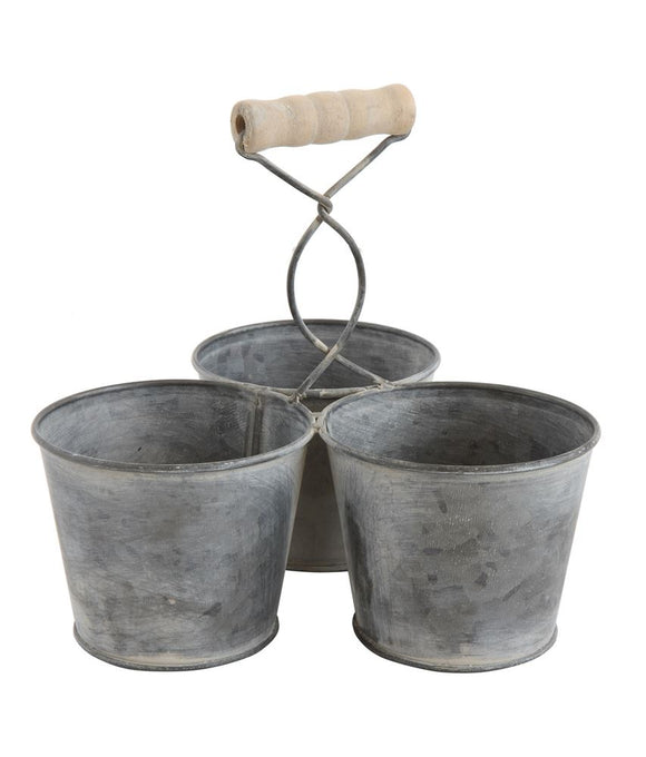 Galvanized Metal Caddy w/ 3 Buckets
