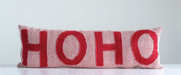 Red & White Appliqued HO HO Pillow