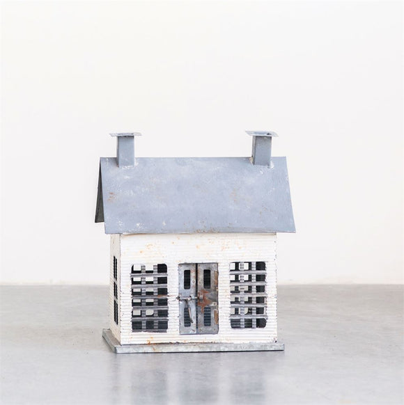 White Distressed Metal House