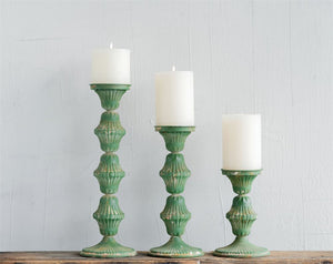 Distressed Green Tin Candle Stick