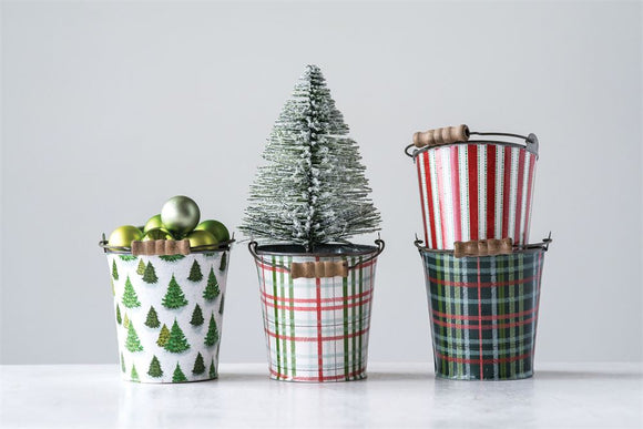 Holiday Metal Bucket w/ Wood Handle