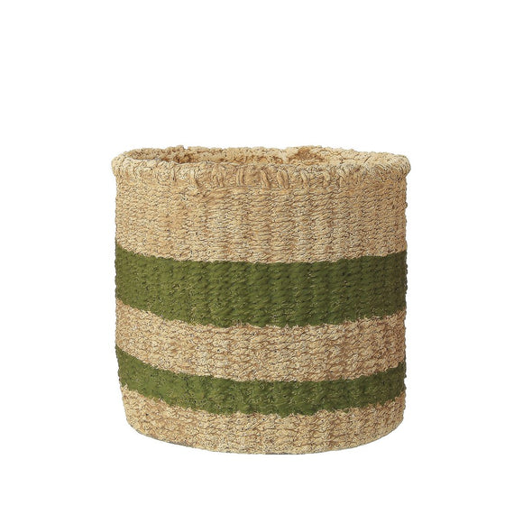 Small Green Stripe Cement Basket Planter