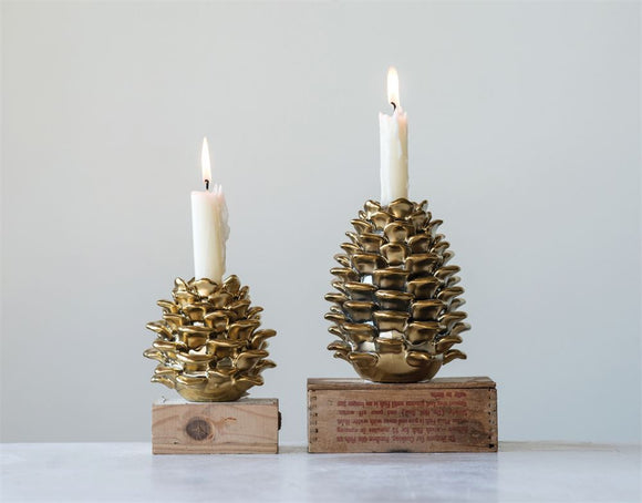 Gold Stoneware Pinecone Taper Holder