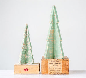 Distressed Green Wood Tree