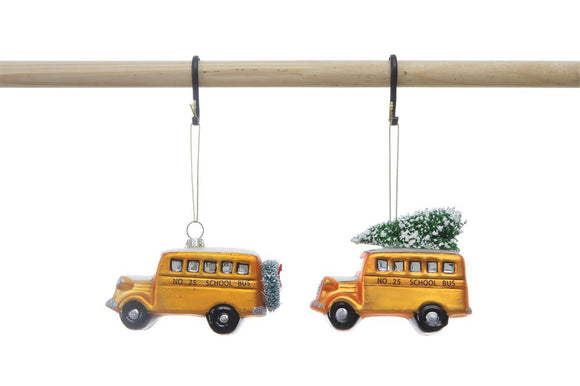 Hand-Painted Glass Holiday Bus Ornament