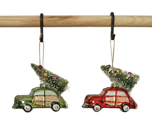Hand-Painted Glass Car w/ Tree Ornament