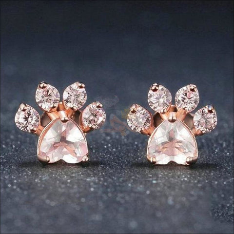 925 Sterling Silver Paw bridal jewellery Set With Rose Quartz Ring Design by Blissfactory Pet Supplies