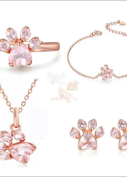 4Pc Real Sterling Silver Rose Gold Paw Haute Jewelry Set