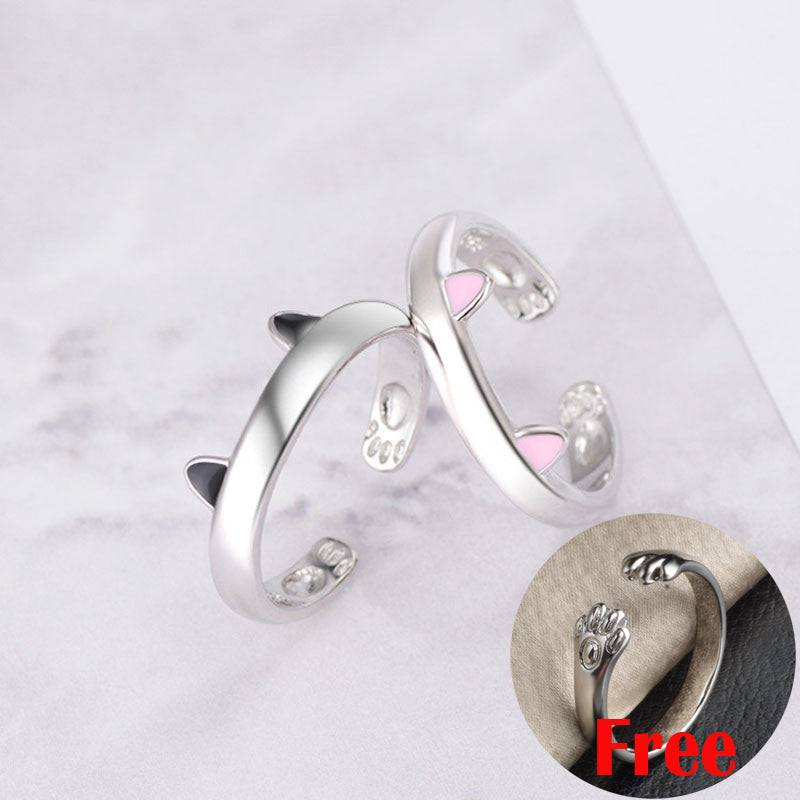Silver  Cat Ears Resizable Promise Ring Set 2 colors ears by Blissfactory Pet Supplies