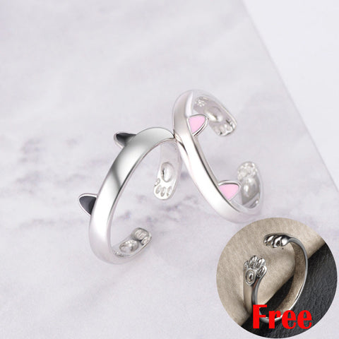 Image of  Silver  Cat Ears Resizable Promise Ring Set 2 colors ears by Blissfactory Pet Supplies