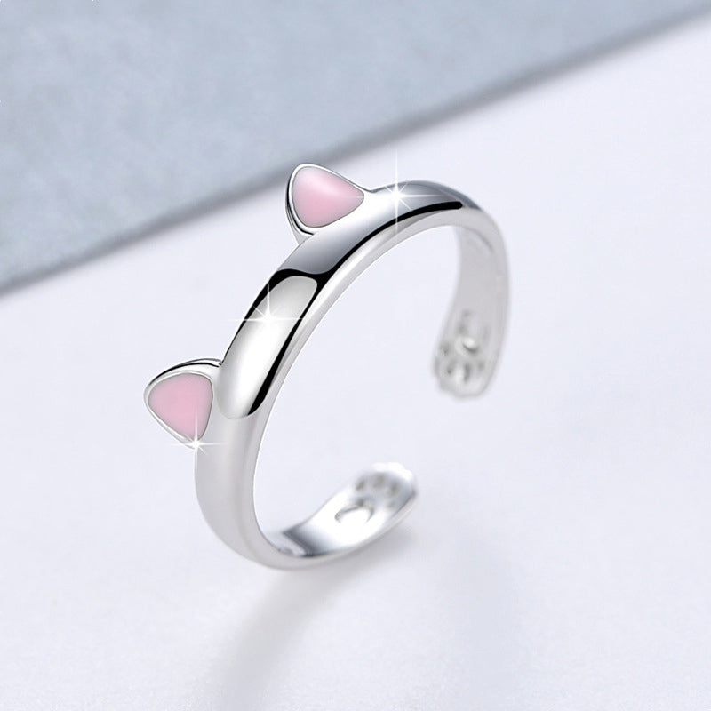 Silver  Cat Ears Resizable Promise Ring Set pink ear by Blissfactory Pet Supplies