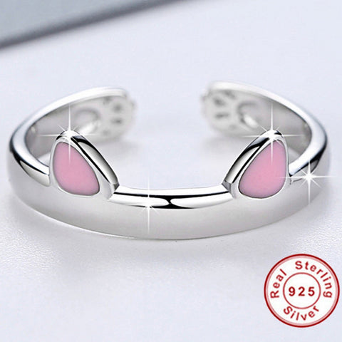 925 Sterling Silver Cute Cat Ears Resizable Partner Ring Set (2 Rings)