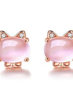 Pink Opal Rose Gold Plated Cat Earrings