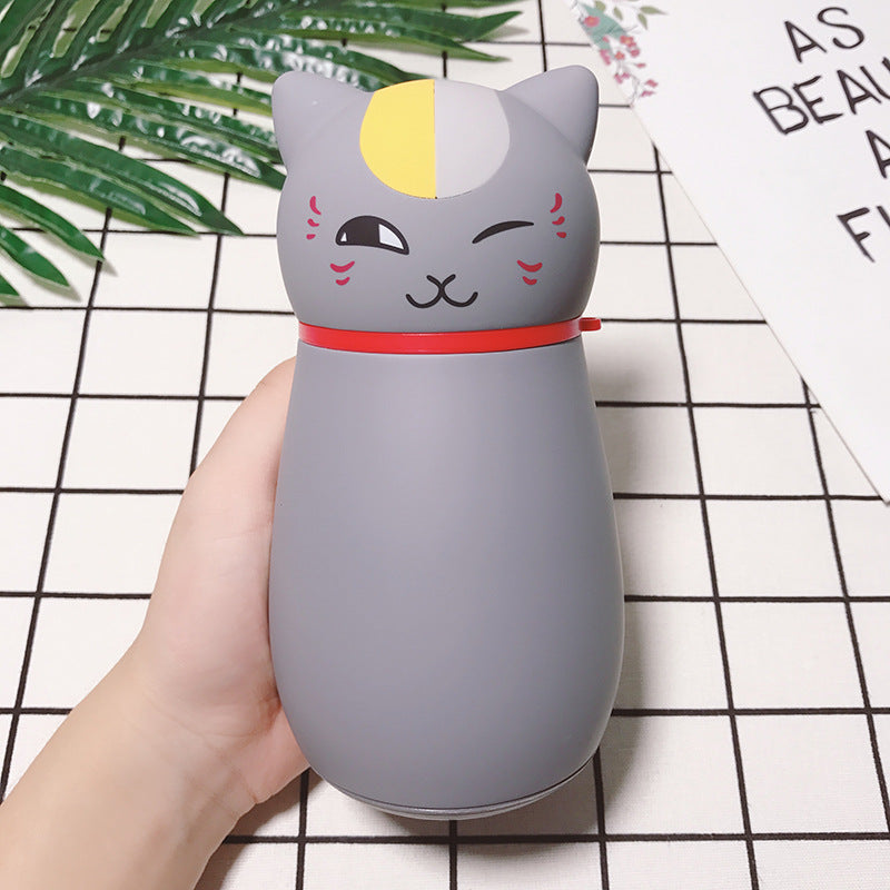 Cute Japanese Cat Thermos Flask, Coffee Thermos gray by Blissfactory Pet Supplies