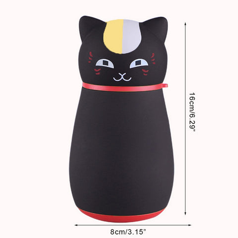 Cute Japanese Cat Thermos Flask, Coffee Thermos black by Blissfactory Pet Supplies