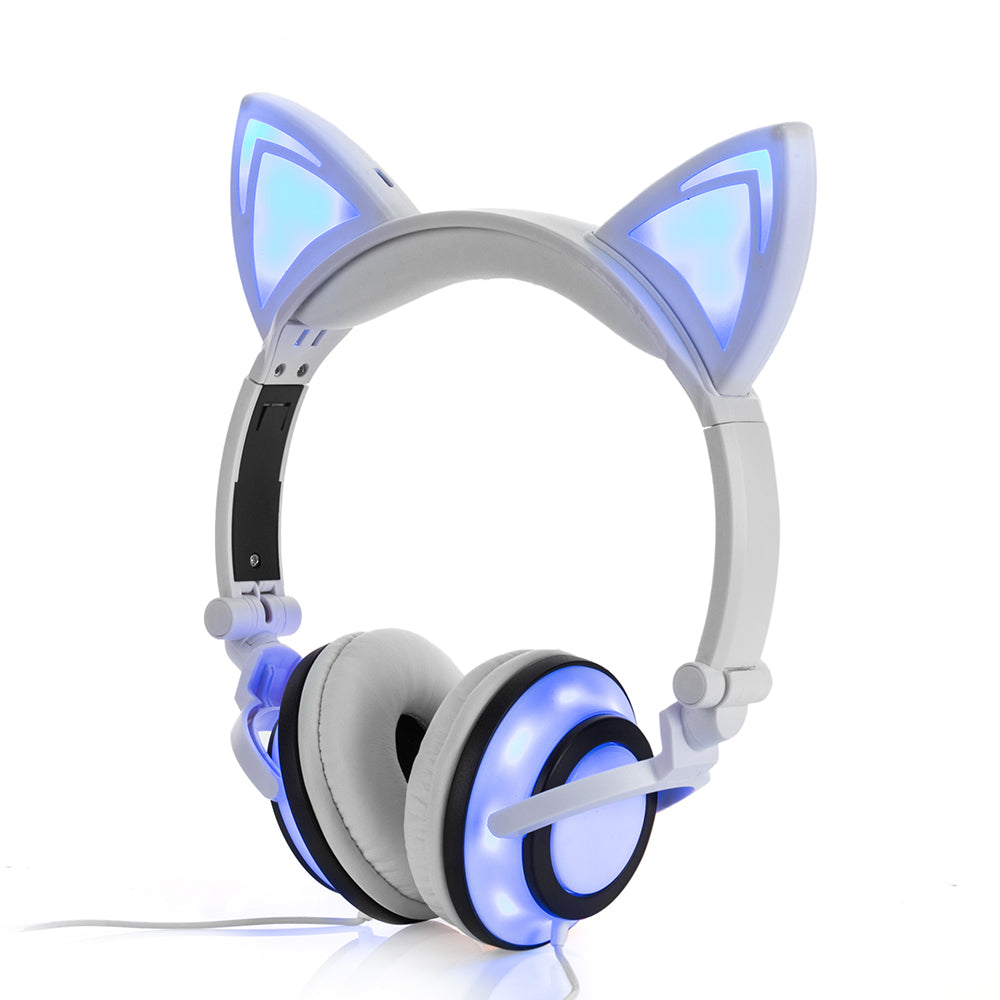 Foldable Flashing Glowing CAT EARPHONES White by Blissfactory Pet Supplies