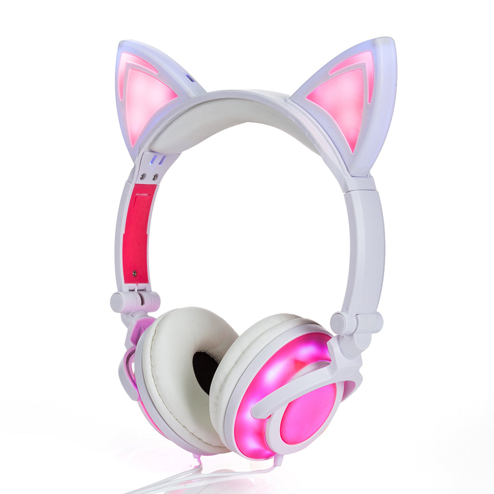 Foldable Flashing Glowing CAT EARPHONES Pink by Blissfactory Pet Supplies
