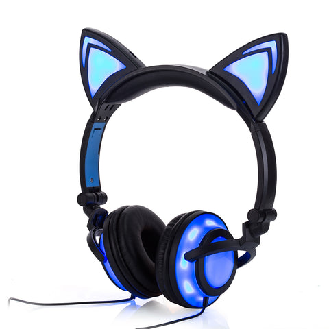 Foldable Flashing Glowing CAT EARPHONES Black by Blissfactory Pet Supplies