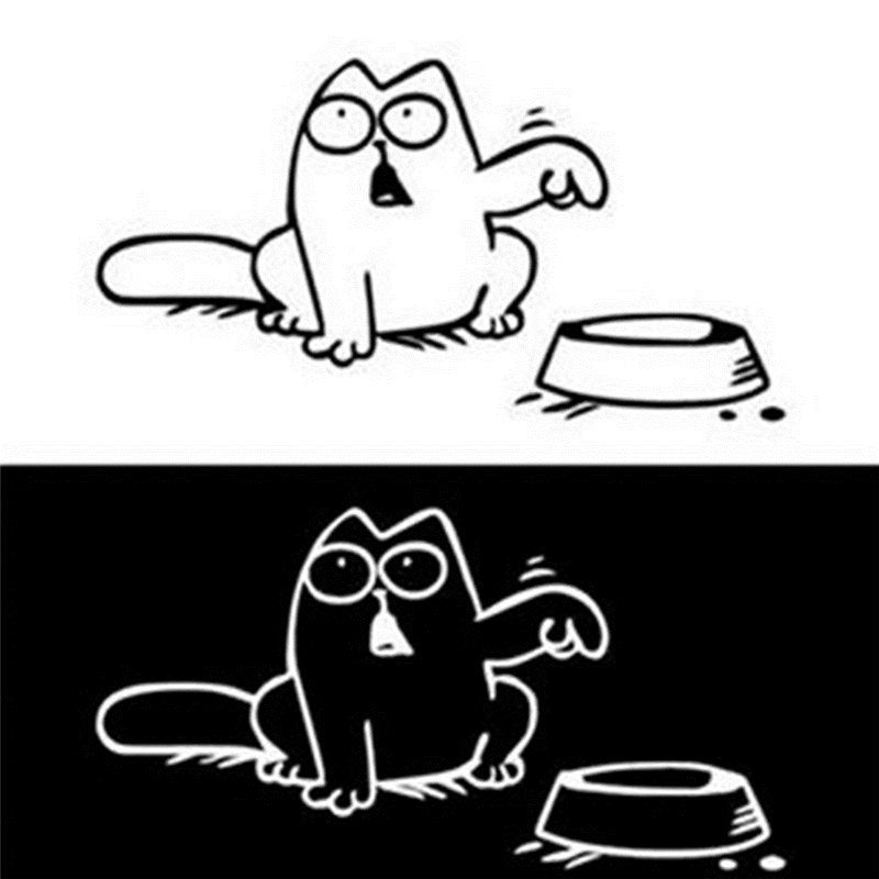 Simon's Cat Car Stickers - Best Bumper stickers Black and White by Blissfactory Pet Supplies