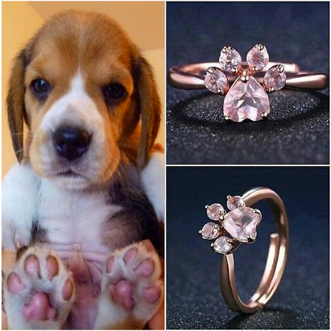 925 Sterling Silver Dog Paw Promise Rings With Rose Quartz by Blissfactory Pet Supplies