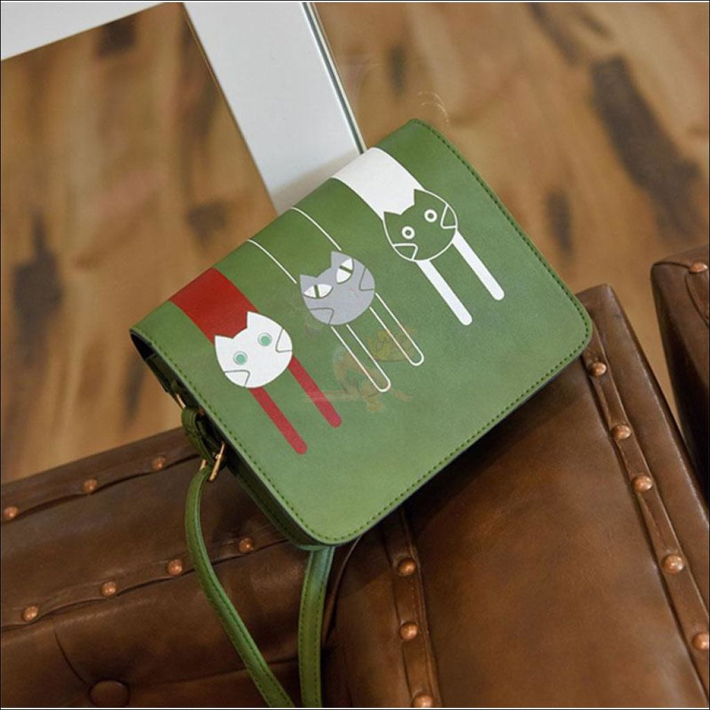 Adorable 3 Friends Cat Purse For Women green by Blissfactory Pet Supplies