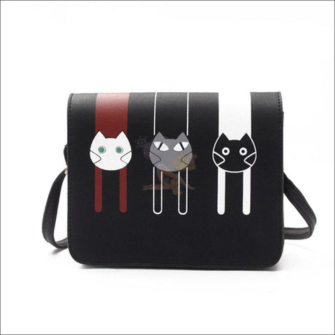 Image of Adorable 3 Friends Cat purse for women black by Blissfactory Pet Supplies