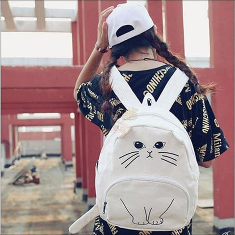 Adorable 3D Printed  Cat Backpack White  by Blissfactory Pet Supplies