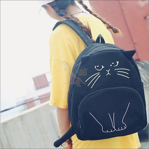 Image of Adorable 3D Printed  Cat Backpack black by Blissfactory Pet Supplies