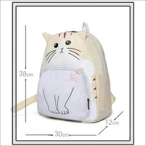 Image of Adorable 3D Printed  Cat Backpack Beige measurements by Blissfactory Pet Supplies