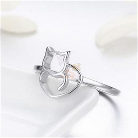 Adorable Sterling Silver cat Ring Design by Blissfactory Pet Supplies