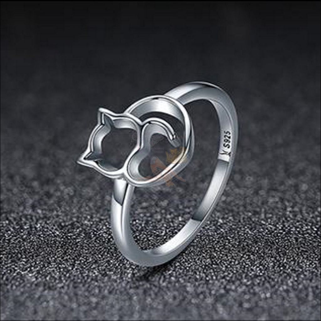 Adorable 925 Sterling Silver Kitten Ring Cat