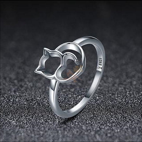 Adorable Sterling Silver cat Ring detailing by Blissfactory Pet Supplies