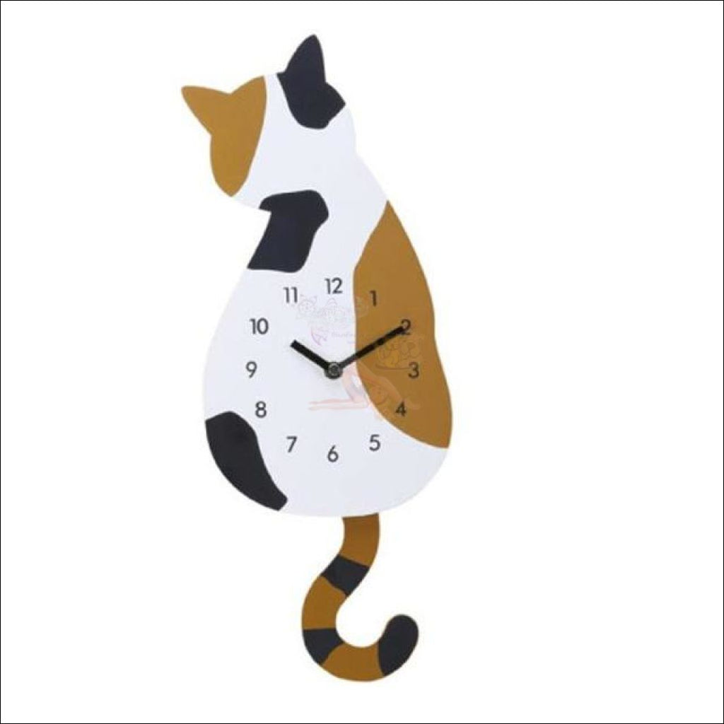 Adorable Cat Tail Swinging Wall Hanging Clock Spotted Left