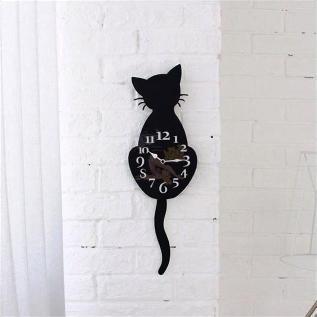 Adorable Cat Tail Swinging Wall Hanging Clock Black