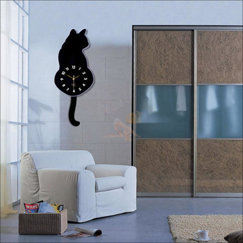 Adorable Wall Cat Clock black by Blissfactory Pet Supplies