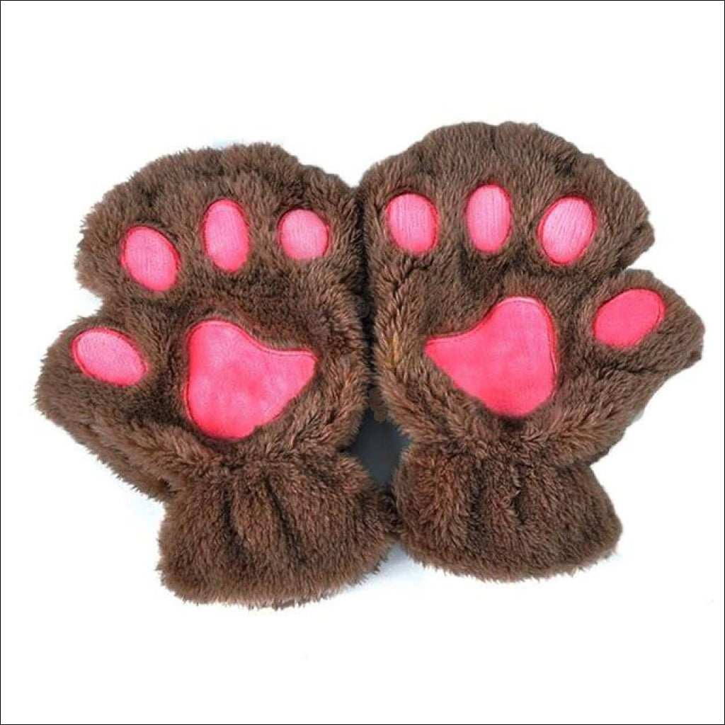 Adorable Furry Cat Paw Gloves khaki by Blissfactory Pet Supplies