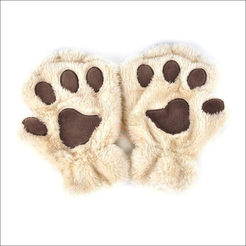Adorable Winter finger less  Cat  Gloves beige by Blissfactory Pet Supplies