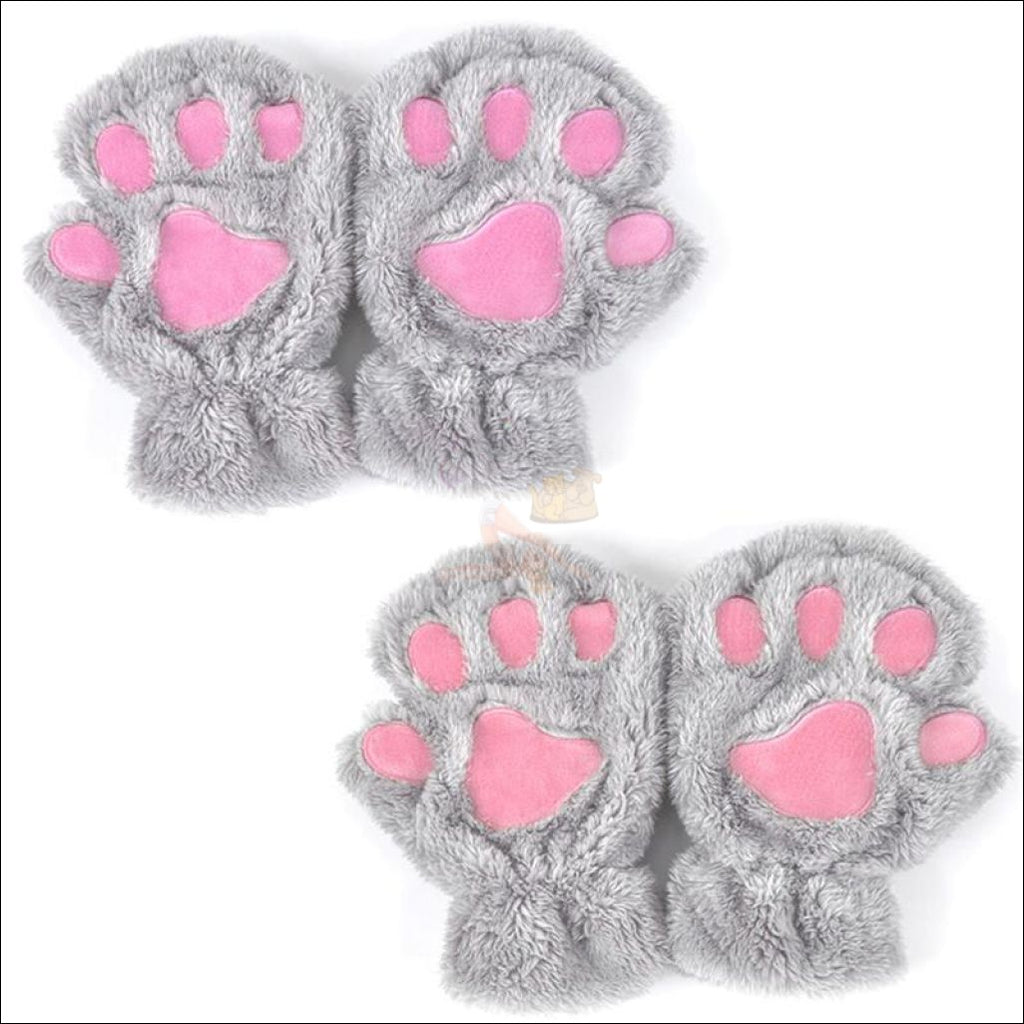 Adorable Winter finger less  Cat  Gloves light gray by Blissfactory Pet Supplies