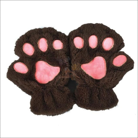 Adorable Winter finger less  Cat  Gloves dark coffee by Blissfactory Pet Supplies