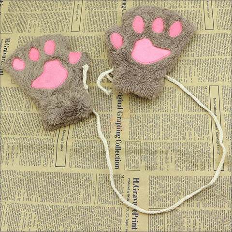 Adorable Winter finger less  Cat  Gloves light coffee by Blissfactory Pet Supplies