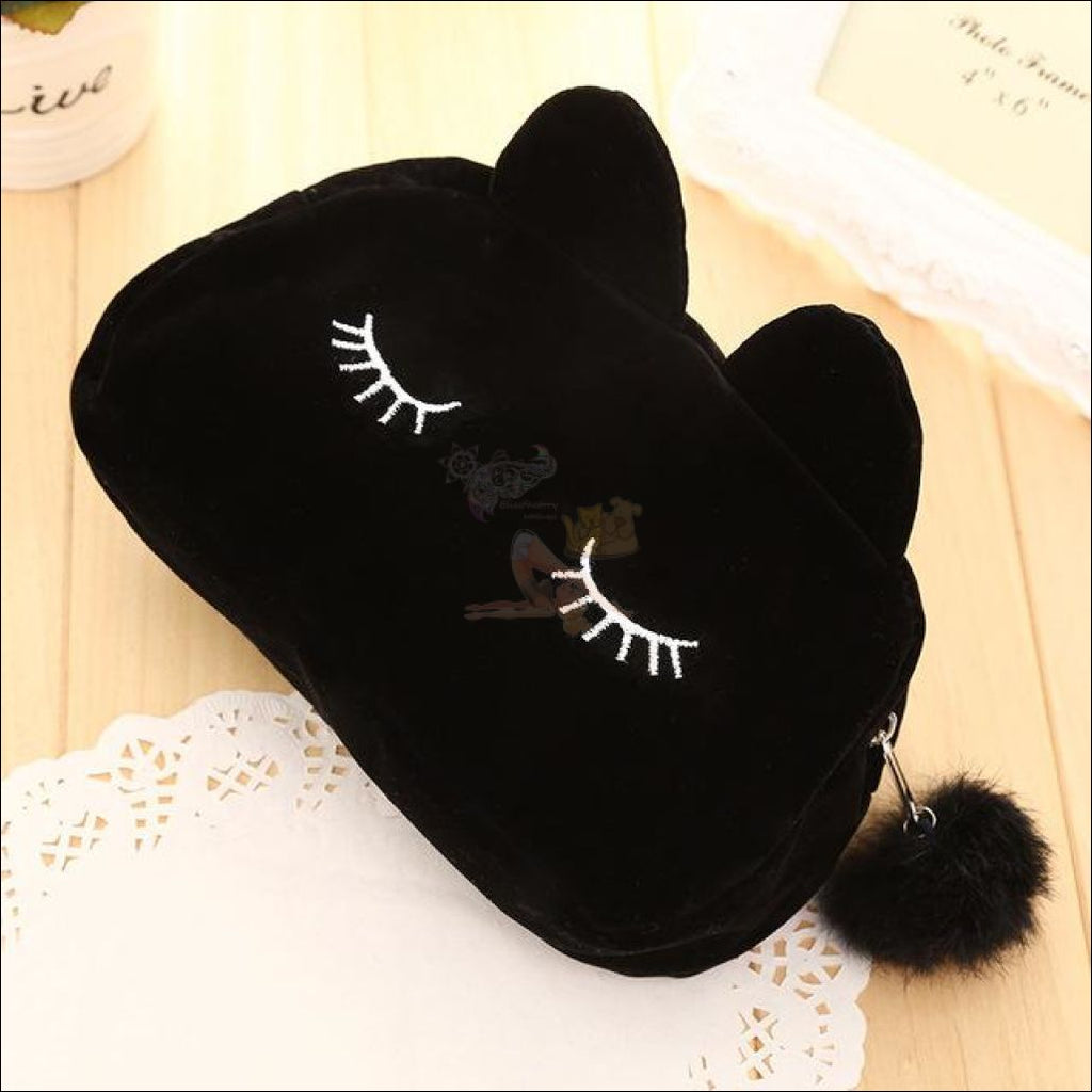 Adorable Kitten Plush Velvet Multipurpose Bag Black