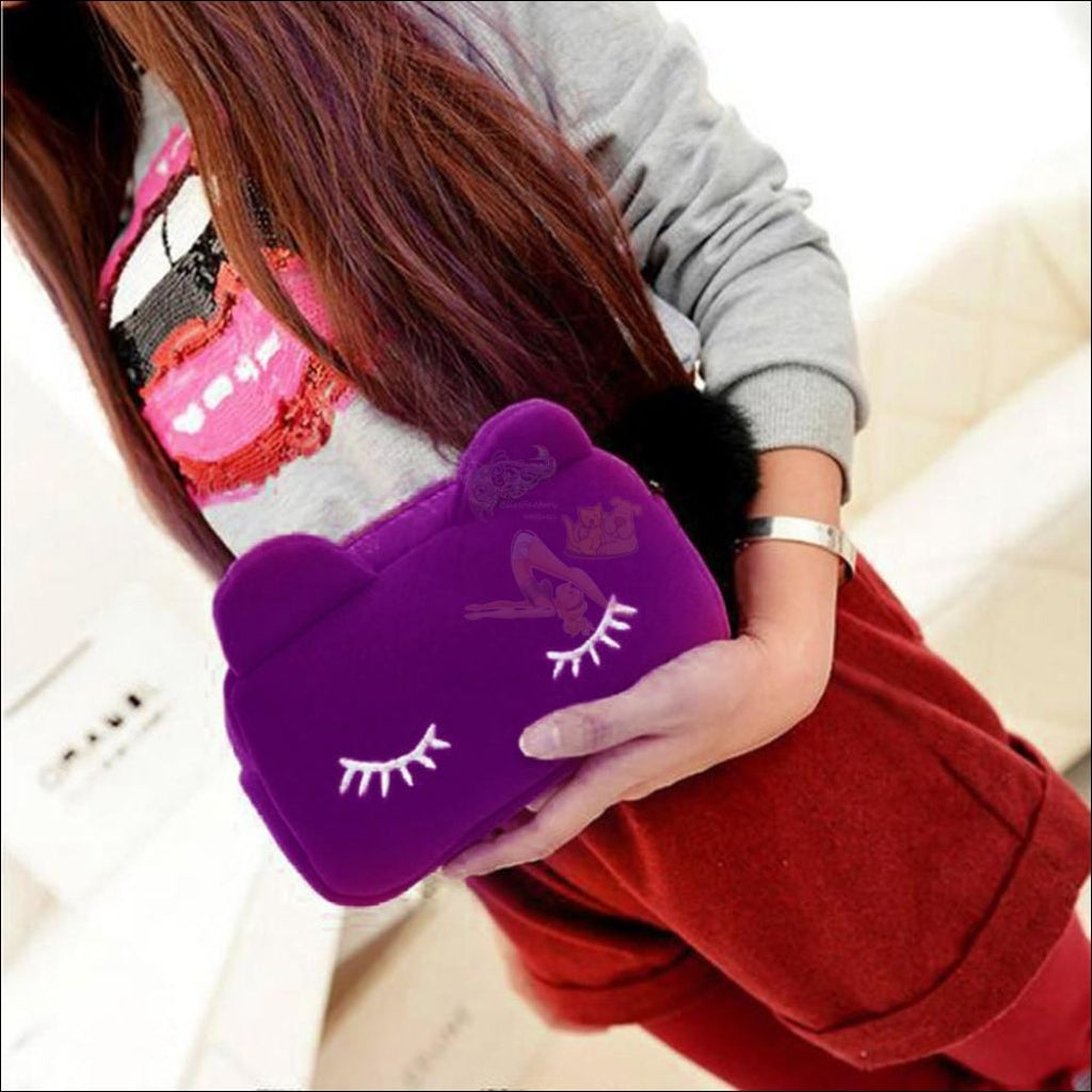 Adorable Multipurpose velvet  cat Bag purple by Blissfactory Pet Supplies