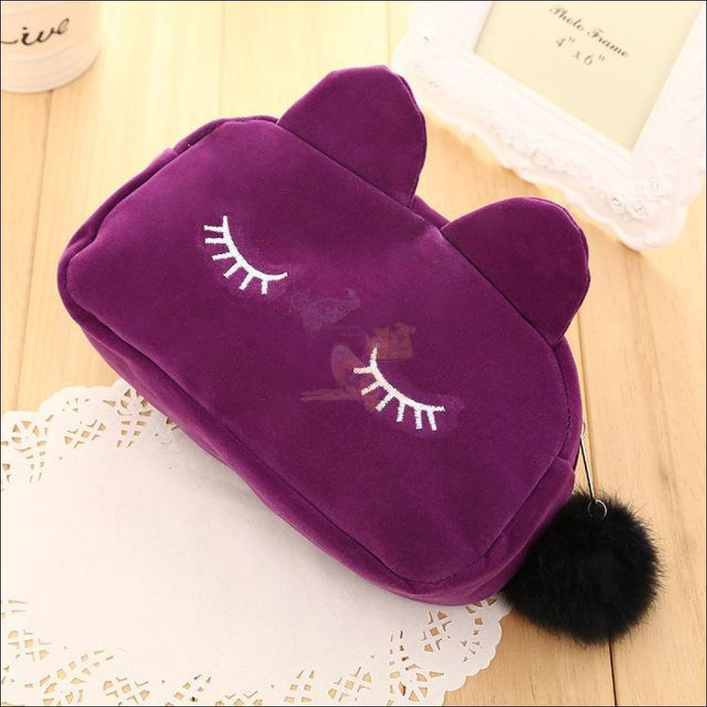 Adorable Kitten Plush Velvet Multipurpose Bag Purple