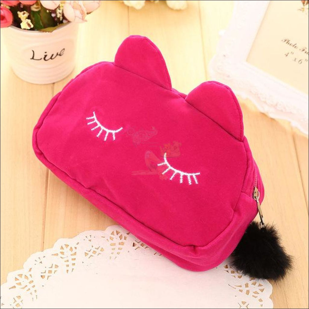 Adorable Kitten Plush Velvet Multipurpose Bag Rose