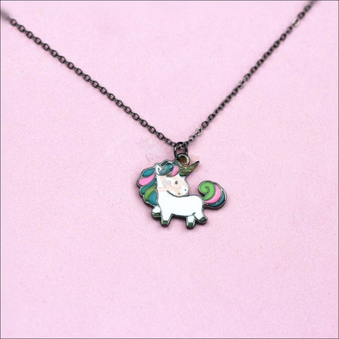 Image of Adorable Unicorn Necklace - The Last Of Her Kind! black plated by Blissfactory Pet Supplies