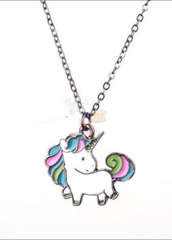 Adorable Rainbow Unicorn Necklace - The Last Of Her Kind! Black Plated Necklaces