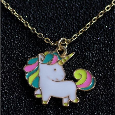 Adorable Rainbow Unicorn Necklace - The Last Of Her Kind! Gold Plated Necklaces