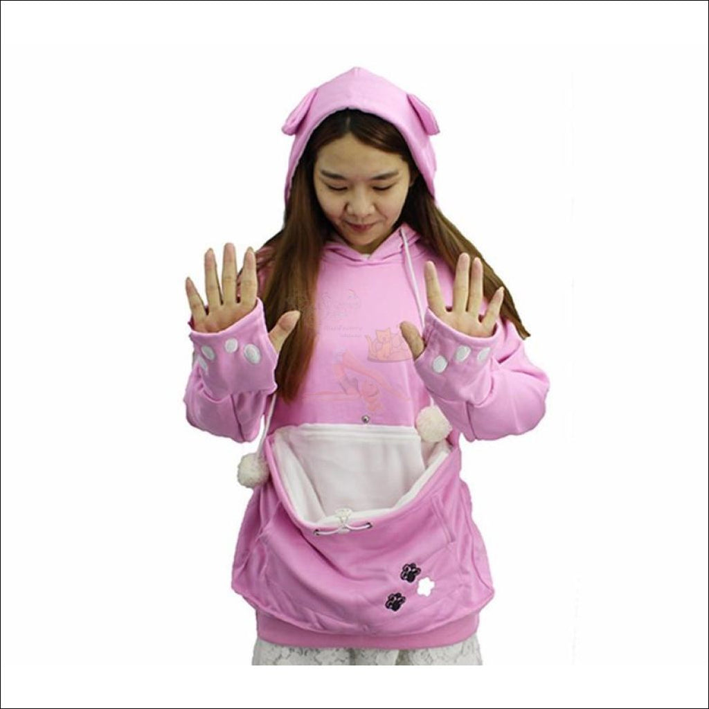 Cat Hoodie with Kangaroo Pouch pink long sleeve  by Blissfactory Pet Supplies