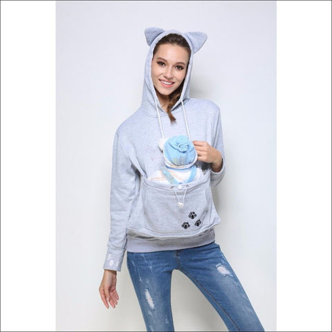 Cat Hoodie with Kangaroo Pouch gray long sleeve by Blissfactory Pet Supplies